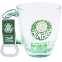 Jg Com Uma Caneca De Vidro E Um Abridor De Garrafas 370ml - Palmeiras - Mileno