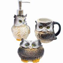 Jg Utensílios De Porcelana Para Banheiro Coruja - Tascoinport