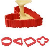Jogo 04 Tiras de Silicone Para Assar Bolo em Diferentes Formatos Cinta Cozinha Confeitaria - Hudson