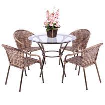 Jogo 1 Mesa Alta Com Tampo 4 Cadeiras para Area Edicula Jardim Biquini Ferro e Fibra Capuccino - Click Moveis Artesanais
