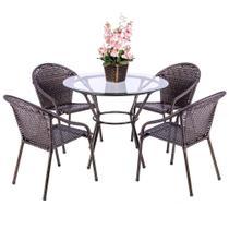 Jogo 1 Mesa Alta Com Tampo 4 Cadeiras para Area Edicula Jardim Biquini Ferro e Fibra Pedra Ferro - Click Moveis Artesanais