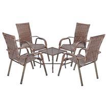 Jogo 1 Mesa Baixa 4 Cadeiras para Area Edicula Jardim Bela, Ferro e Fibra Trama Fechada Argila - Click Moveis Artesanais