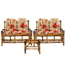 Jogo 2 Namoradeiras de bambu sofá poltrona e mesa VL DECOR G1 -