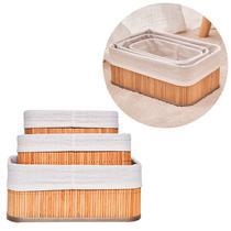 Jogo 3 cestos de bambu organizadores para quarto closet banheiro cozinha lavanderia armário gaveta - 3 Cestos Bambu
