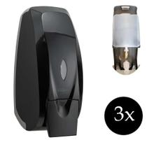 Jogo 3 dispenser álcool gel porta sabão sabonete líquido com reservatório Parede Alco Preta banheiro - Premisse Velox