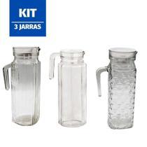 Jogo 3 Jarras Madri Veneza Suíça 1 Litro Suco água Vidro Kit - 123Útil