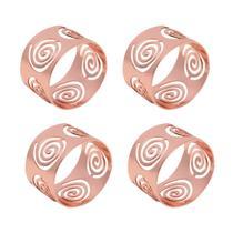 Jogo 4 anéis para guardanapo de aço inox rosé gold Circles Prestige - 26511 -