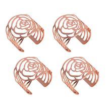 Jogo 4 anéis para guardanapo de aço inox rosé gold Cut Prestige - 26510 -