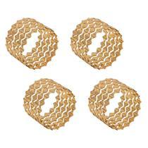 Jogo 4 anéis para guardanapo em zamac dourado Gates Prestige - 26512 -