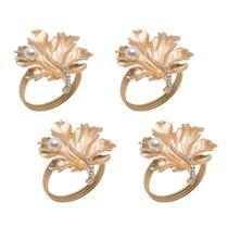 Jogo 4 anéis para guardanapo em zamac dourado Leaves Prestige - 26513 -