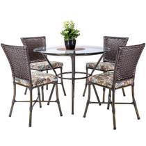 Jogo 4 Cadeiras de Jantar Mesa com Tampo para Area Jardim Turquia, Ferro e Fibra Pedra Ferro A03 - Click Moveis Artesanais