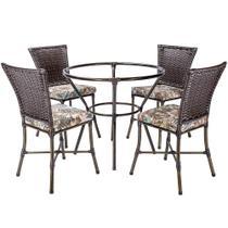 Jogo 4 Cadeiras de Jantar Mesa para Area Jardim Turquia, Ferro e Fibra Pedra Ferro A03 - Click Moveis Artesanais