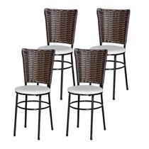 Jogo 4 Cadeiras Para Cozinha Preta Hawai Cappuccino - Lamar Design
