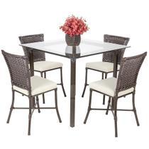 Jogo 4 Cadeiras Turquia e 1 Mesa Quadrada Com Tampo de Vidro Pedra Ferro A34 - Click Moveis Artesanais