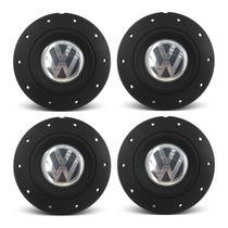 Jogo 4 Calota Centro Roda Ferro VW Amarok Aro 13 14 15 4 Furos Preta Fosca + Chave de Remoção - Gfm - Calotinha