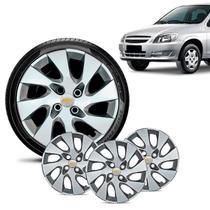Jogo 4 Calota Chevrolet GM Celta Aro 13 Prata Emblema Prata - Gfm - Calota