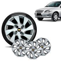 Jogo 4 Calota Chevrolet GM Celta Aro 13 Prata Emblema Preto - Gfm - Calota