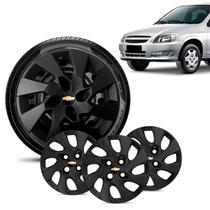 Jogo 4 Calota Chevrolet GM Celta Aro 13 Preta Fosca Emblema Preto - Gfm - Calota