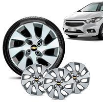 Jogo 4 Calota Chevrolet GM Onix 2013 14 15 16 Aro 14 Prata Emblema Preto - Gfm - Calota