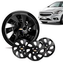 Jogo 4 Calota Chevrolet GM Onix 2013 14 15 16 Aro 14 Preta Brilhante Emblema Preto - Gfm - Calota