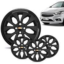Jogo 4 Calota Chevrolet GM Onix 2017 18 19 Aro 14 Preta Fosca Emblema Preto - Gfm - Calota