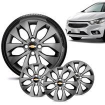 Jogo 4 Calota Chevrolet GM Onix 2017 18 19 Aro 15 Grafite Brilhante Emblema Preto - Gfm - Calota