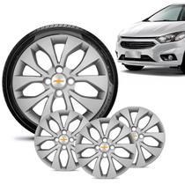 Jogo 4 Calota Chevrolet GM Prisma 2013 14 15 16 Aro 14 Prata Emblema Prata - Gfm - Calota