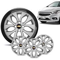 Jogo 4 Calota Chevrolet GM Prisma 2013 14 15 16 Aro 14 Prata Emblema Preto - Gfm - Calota