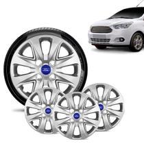 Jogo 4 Calota Ford Ka + 2015 16 17 18 Aro 14 Prata Emblema Azul - Gfm - Calota