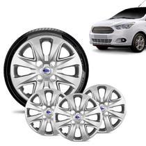 Jogo 4 Calota Ford Ka + 2015 16 17 18 Aro 14 Prata Emblema Prata - Gfm - Calota