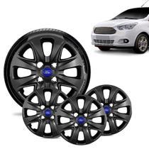 Jogo 4 Calota Ford Ka + 2015 16 17 18 Aro 14 Preta Brilhante Emblema Azul - Gfm - Calota
