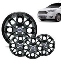 Jogo 4 Calota Ford Ka + 2015 16 17 18 Aro 14 Preta Brilhante Emblema Prata - Gfm - Calota