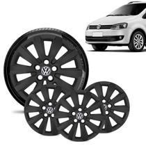 Jogo 4 Calota Volkswagen Vw Fox Aro 15 Preta Fosca - Gfm - Calota
