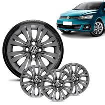 Jogo 4 Calota Volkswagen Vw Gol G7 2017 18 Aro 14 Grafite Brilhante - Gfm - Calota