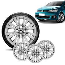 Jogo 4 Calota Volkswagen Vw Gol G7 2017 18 Aro 14 Prata - Gfm - Calota