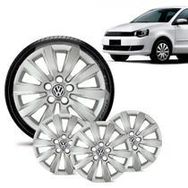 Jogo 4 Calota Volkswagen Vw Polo Aro 15 Prata - Gfm - Calota