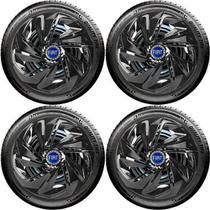Jogo 4 Carlotas Aro 13 Nitro Black Fiat Palio Uno Siena Idea - Elitte