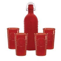 Jogo 4 Copos e Garrafa Velvety 1 Litro Vermelho Água Suco - Hauskraft