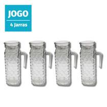 Jogo 4 Jarras de Suco vidro com tampa 1l suco agua cha suiça - 123Útil