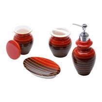 Jogo 4 pcs de cerâmica p/banheiro vertigo vermelho e preto - Prestige