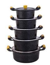 Jogo 5 Panela Alumínio Fundido Craqueada Caçarola Preto - Cozinha Mineira