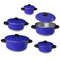 Jogo 5 Panela Aluminio  Peças Colorido Azul Caçarola - Tenesin