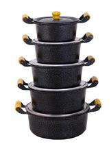 Jogo 5 Panela Caçarola Alumínio Preto Alça De Madeira Tampa Fundida Pomel de Madeira - Diviforte