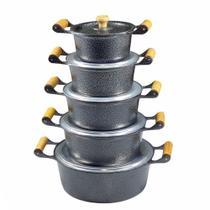 Jogo 5 Panelas Caçarolas Alumínio Fundido Craqueado Preto - Andrade Dias Fundição