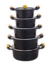 Jogo 5 peças Panelas Caçarolas de Alumínio Batido Craqueada Preta - Cozinha Mineira
