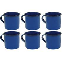 Jogo 6 Canecas Xícaras De 70ml Chá Café Esmaltadas Cozinha Azul - Zanline