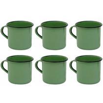 Jogo 6 Canecas Xícaras De 70ml Chá Café Esmaltadas Cozinha Verde - Zanline