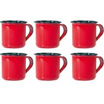 Jogo 6 Canecas Xícaras De 70ml Chá Café Esmaltadas Cozinha Vermelha - Zanline