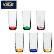 Jogo 6 Copos Cristal Alto Barware 350ml Colorido Bohemia -