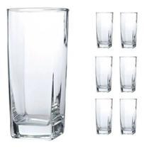 Jogo 6 Copos Vidro Quadrado 265ml Transparente Drink Bebidas - Wellmix